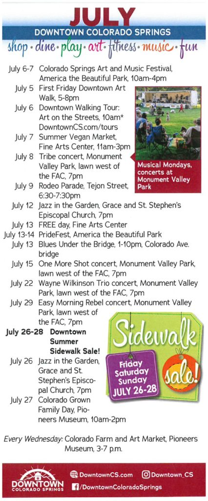 Downtown Colorado Springs Events | July 2019